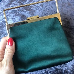 Gucci Bags - GUCCI EMERALD SATIN MINI CLUTH WITH GOLD DETAILING